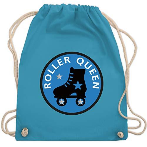 Shirtracer Vintage - Roller Queen Rollschuh - Unisize - Hellblau - rollschuh rucksack - WM110 - Turnbeutel und Stoffbeutel aus Baumwolle