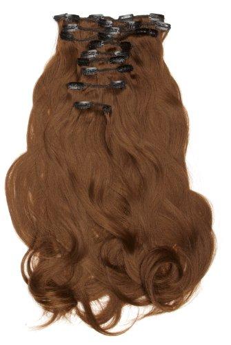 Love Hair Extensions - LHE/K1/QFC/120G/10PCS/18/6 - Thermofibre(TM) Lisses et Soyeux - 10 Pièces Clippants en Extensions - Couleur 6 - Brun Foncé Cendré - 46 cm