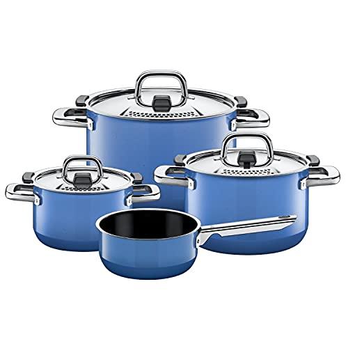Silit Nature Blue - Batería de cocina de inducción (4 piezas, con tapa de metal, cerámica Silargan, para inducción), color azul