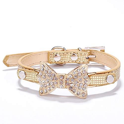 Nigoz - Collar con lazo de diamantes de imitacin, textura de serpiente, apto para perros pequeos y medianos y gatos, 37 x 1,5 cm, servicio duradero y exquisita artesana