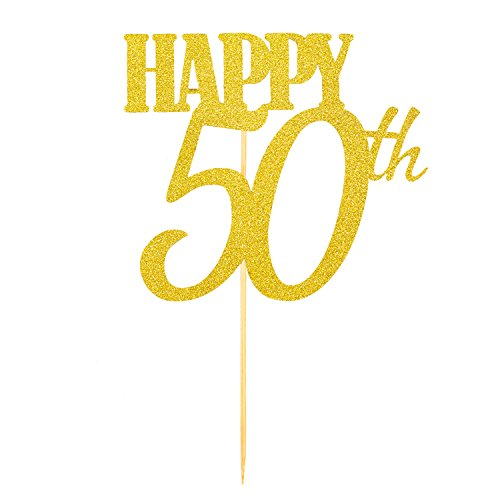Oblique Unique® Torten Kuchen Topper Aufsatz Happy 50th Geburtstag - Gold mit Glitzereffekt - Jubliäum Deko