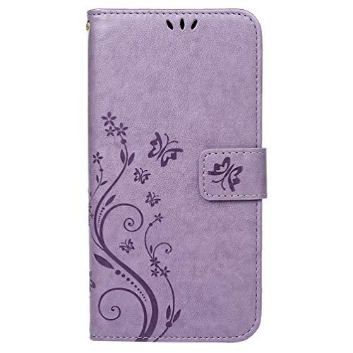 Shukukan Huawei Honor 20 Pro Cases, Butterfly Embossed Wallet Case PU Lederen Beschermende Flip Cover Folio Stand Notebook Ontwerp Telefoon Holster met Kaarthouders Geld Clip Helder Paars