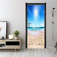 ドア壁画ウォールステッカー ビーチの家の装飾デカール壁画ポスターバスルームリビングルーム防水壁紙