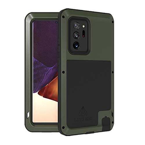 LOVE MEI Samsung Galaxy Note 20 Ultra Case, Aluminum Metal Outdoor Shockproof Military Heavy Duty Sturdy Protector Cover Hard Case for Samsung Galaxy Note 20 Ultra (Note 20 Ultra, Green)