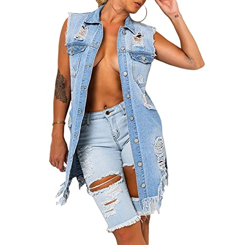 iTranyee Women's Denim Jackets Sleeveless Turn-Down Neck Waistcoat Vest Casual Ripped Jean Midi Long Coat with Tassels Blue XL