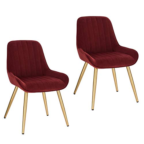 Lestarain 2 Stücke Esszimmerstuhl, Retro Küchenstuhl Wohnzimmerstuhl Sitzfläche aus Samt Retrostuhl mit Metallbeine Besucherstuhl Stuhl für Esszimmer Wohnzimmer Küche Bordeaux
