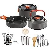 Kit de utensilios de cocina de camping con estufa, maciceros, utensilios de cocina de utensilios de cocina, mochilero, excursionismo, equipo de cocción de picnic al aire libre, para 2 a 3 personas que