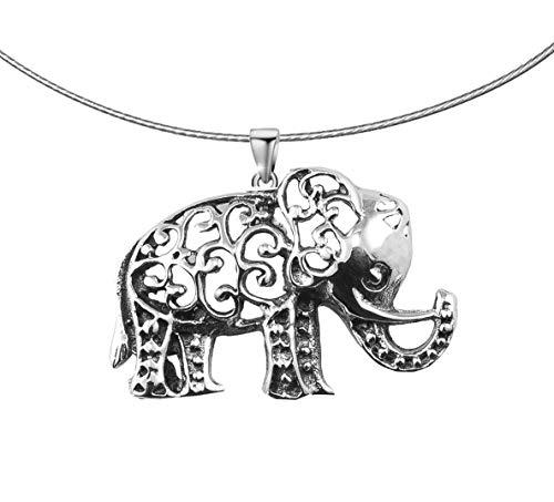 PAPOLY® Colgante Elefante Lucky en Plata DE Ley 925, Regalo Gamuza Limpia Plata 25x10cm + Cadena semirrigida de Acero.
