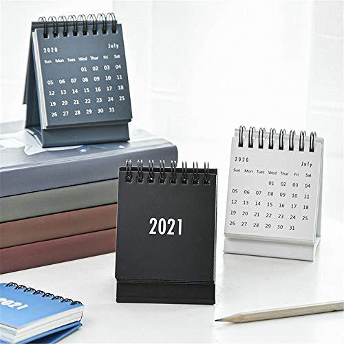 BLOUR 2021 Einfacher Schreibtischspulenkalender mit Aufklebern Mini Dual Täglicher Zeitplan Tischplaner Jährlicher Organisator Büro Schulbedarf
