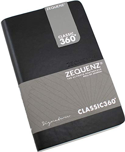 """Zequenz Classic 360 Signature Series, Size: Pocket, Color: Black, Paper: Blank, Soft Cover pocket Notebook, soft bound journal, 3.5"""" x 5.5"""", 85 sheets / 170 pages, Plain, Blank thick premium paper"""