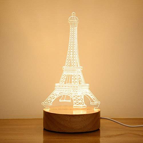 Tischlampe, Massivholzsockel 3d Nachtlicht, kreative elektronische Produkt Schlafzimmer Nachtatmosphäre Lampe-USB-Taste monochrom-warm light_Eiffel Tower