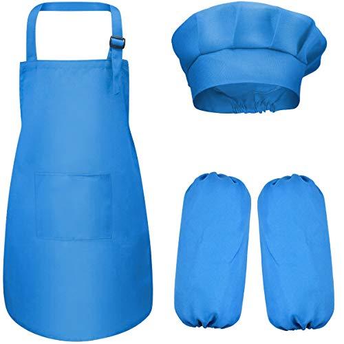 Dokpav 4-8 Años Delantal Infantil + Gorro y Manguitos de Cocinero para Niños y Niñas Ajustable Infantil Delantales Niños con 2 Bolsillo para Pintura Artística Actividades en el Aula y Cocina (Azul)