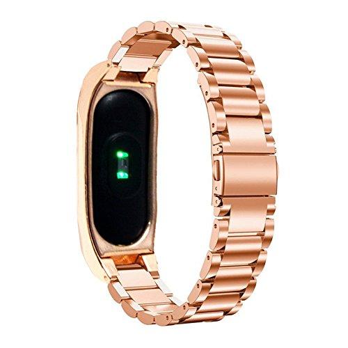 PINHEN Correa de Repuesto de Acero Inoxidable para Reloj Inteligente Xiaomi Mi Band 2, con Marco de Metal (Rose)