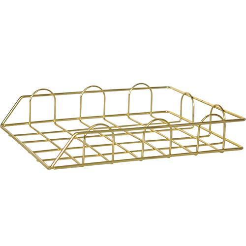 IJzeren kunst desktop bestandsmand, eenvoudige creatieve metalen geometrische vorm ijzeren tijdschrift assortiment plank, voor woonkamer, studie, kantoor, tijdschrift, cadeau-opslag, goud