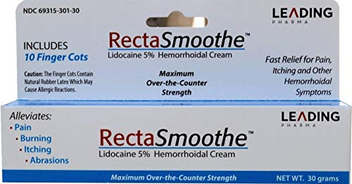 RectaSmoothe Lidocaine 5% Hemorrhoidal Anesthetic Cream, Fast Pain Relief for Hemorrhoids and Other Anorectal Disorders 1 oz. Tube