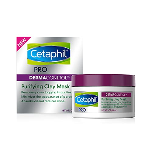 Clay Mask by Cetaphil Pro, Dermacontrol Purifying Clay Face Mask with Bentonite Clay for Blackheads and Pores, Designed for Oily, Sensitive Skin, 3 oz