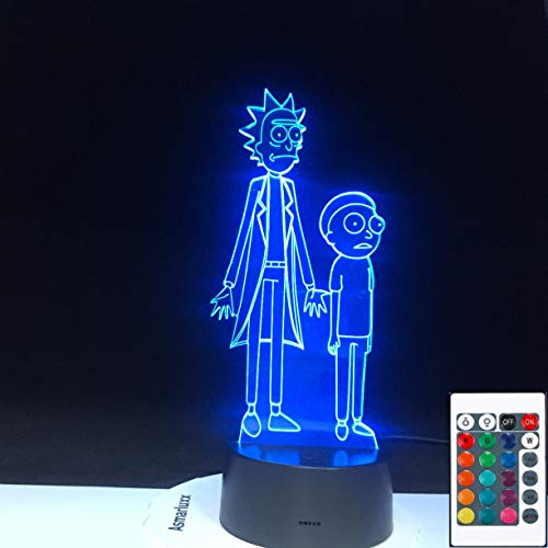 Rick RICK Cartoon Verrückter Doktor MORTY 3D LED Nachtlicht Tischlampe Nachttisch Dekoration Kinder Geschenk