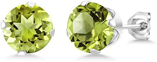 Gem Stone King Green Peridot 925 Sterling Silver Stud Earrings For Women 2.00 cttw Gemstone Birthstone 6MM