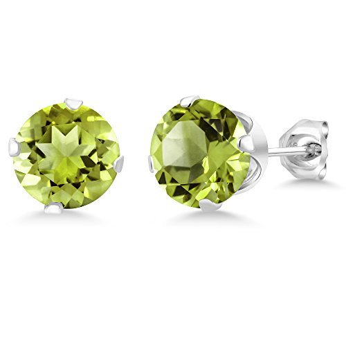 Green Peridot 925 Sterling Silver Stud Earrings For Women 2.00 cttw Gemstone Birthstone 6MM