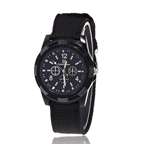 Moligin Analog Quarz stilvoller lässig Watchwomen DREI Augen schwarz Uhr mit Leinwand Armbinde Armbanduhr mit dunklen glühenden Pointe