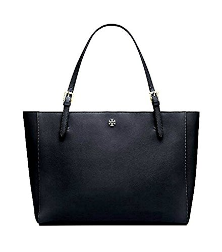 Tory Burch Emerson Large Buckle Tote Saffiano Leather Handbag 49125 (Black)