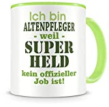 Samunshi® Ich bin Altenpfleger Tasse Beruf Geschenk Kaffeetasse Teetasse Kaffeepott Kaffeebecher Becher Geburtstag Teetasse grün 300ml