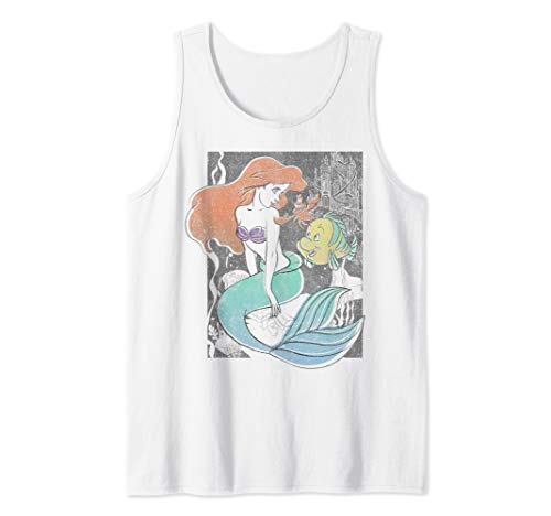 Disney The Little Mermaid Happy Ariel Sebastian Flounder Tank Top