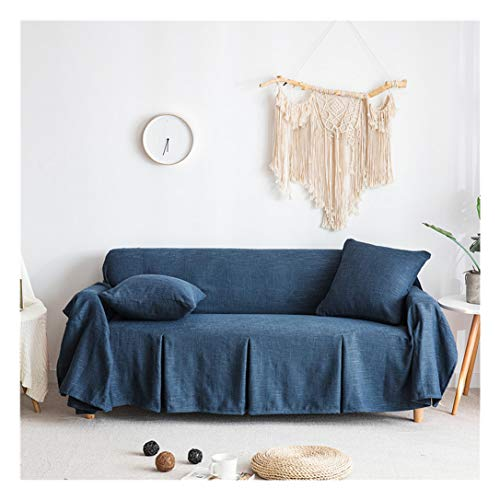 MISSMAO_FASHION2019 Tagesdecke/Sofaüberwurf Sofa Überwurf Bettüberwurf Couchbezug Leinen Mehrzweck Eine Sofabezug Werfen Blau1 Kissen:45x45cm