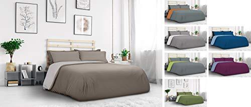 Daunex Completo Copripiumino Jersey cm. 155 x 200 Colore Lino/Tortora Letto Singolo Una Piazza