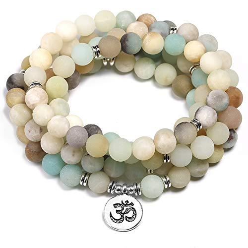 NASHUBIA Natuurlijke Mala armbanden 108 yoga 8 mm matte stone armband voor vrouwen en mannen meditatie charm sieraden cadeau