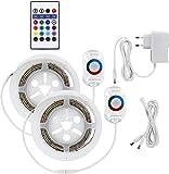 RGB Bettlicht 2er SET 230V - Lichtband mit Bewegungsmelder + Dämmerungssensor + Controller + Dimmer