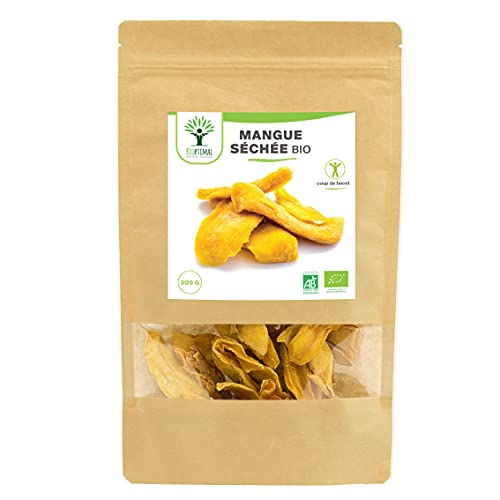 Mangue Bio - Bioptimal - Lamelles de Mangues Séchées - Fruit Sec Biologique et Naturel - Potassium Vitamine A - Sans Sucre Ajouté Ni OGM Non Sulfurisé - Conditionné en France - Certifié Ecocert - 300g