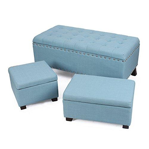 Adeco Fabric Retangular Button Tufted Nailhead Trim Trio Storage Ottoman Bench, Princess Blue (Set of 3)