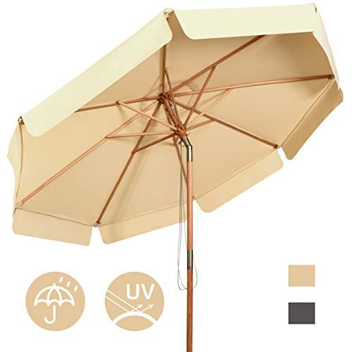 COSTWAY Sombrilla de Ø300cm de Madera Parasol de Jardín Inclinable Sombrilla de Manivela para Playa Jardín Piscina Terraza (Beige)