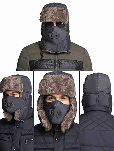 Sombrero de piel de trampero de invierno, gorros de policía con tapa de cara Hombres Mujeres - Sombreros de rusia Ushanka ruso unisex a prueba de agua, tapa de bombardero a prueba de viento (Grey)