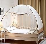 Moustiquaire de Lit Pliable, Digead Portable de voyage Moustiquaire, Porte simple Camping Mosquito Rideau, 120 * 200cm Moustiquaire en Forme de Dôme à Installation Facile - Jante Marron