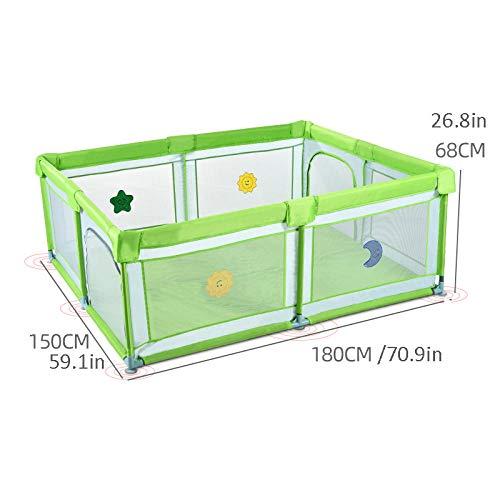Vitila 32 sq ft GrünBällebad Bälle mit Atmungsaktivem Netz,4 eckig Gymnastikmatte Kinder für Säuglinge Und Babys Mit Stabilen Basen Und Anti-Rutsch-Pads