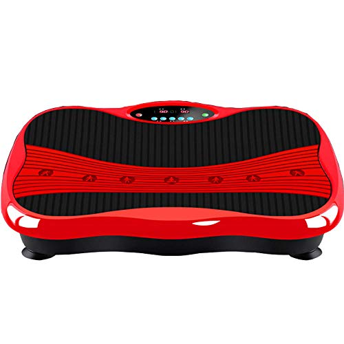 B/H Plataforma Vibratoria 3D para,Máquina para Esculpir el Cuerpo, Mini máquina para sacudir Deportes-roja,Plataforma Vibratoria Ultra Slim