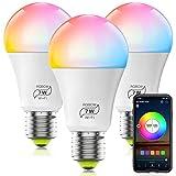 Bombilla LED Inteligente WiFi Regulable 7W 600 Lm Lámpara, E27 Multicolor Bombilla Compatible con Alexa, Echo e Google Home, A19 90W Equivalente RGBCW Color Cambio Bombilla(3 Pcs)