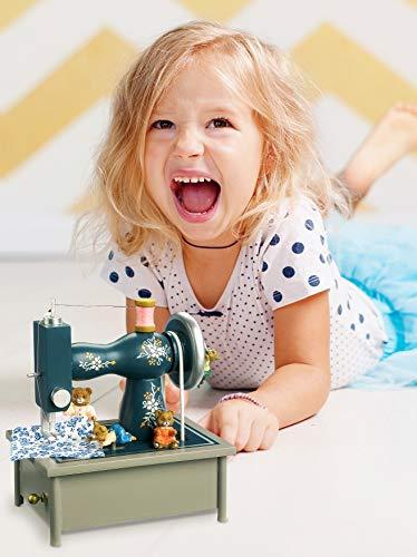 """Spieluhr """"Nähmaschine"""" aus Holz, in einem wunderschönen nostalgischen Design mit vielen kleinen Details, die Teddybären nähen fleißig zur Melodie """"It is a small world"""", ausgezeichnete Klangqualität - 2"""