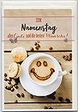 Glückwunschkarte zum Namenstag Smiling Cappuccino Alles Gute und die besten Wünsche