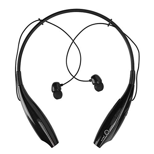 fosa1 HV-800 Neckband Bluetooth Earphones, Portable Bluetooth 3.0 + EDR Wireless Retractable Noise Reduction Sports Headsets Magnetic Earbuds Stereo Sound Surround for Outdoor Fitness(Black)