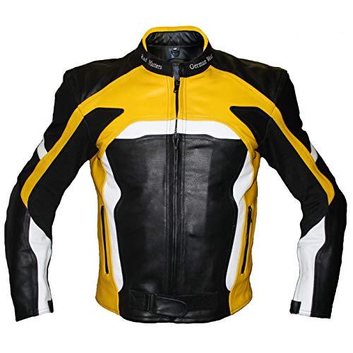 German Wear Motorradjacke Lederjacke Biker lederjacke 4x Farbauswahl, Frabe:Gelb;Größe:M