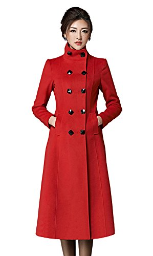 Chickle Women's Double Breasted Lapel Walker Long Wool Coat Red
