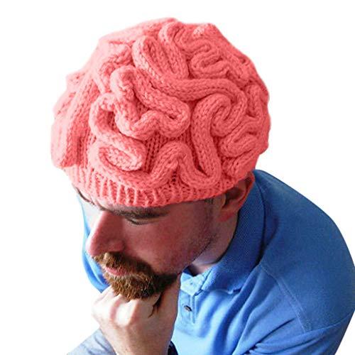 Toamen - Halloween Essentiel - Main Tricoté Personnalité Cerveau Chapeau des Gamins Adultes Crochet Bonnet Cool Cerveau Casquette(A-05)