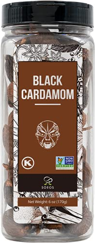 Soeos Black Cardamom 6 Ounces, NON GMO Verified, Kosher, Asian and India Cooking Spice, Smoky Flavor, Freshly Dried Cardamom, Cardamom Seeds, Cardamom Pods for Cooking, Whole Kali Elaichi, 6oz.