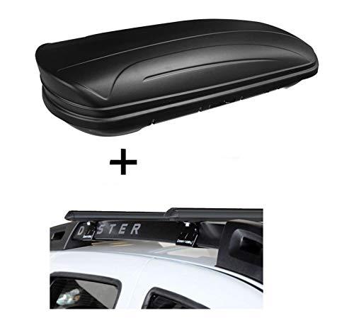 Dachbox VDPMAA320 320Ltr abschließbar schwarz matt + Stahl Relingträger Aurilis Original kompatibel mit Dacia Duster mit Reling 5 Türer 2014-2017