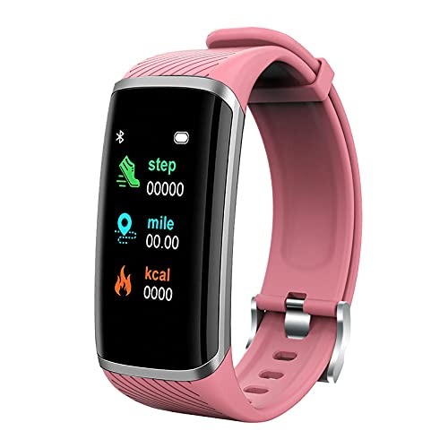 Smartwatch, M8 1,2 Zoll Farbbildschirm IP67 Wasserdichtes Fitness-Sport-Armband, unterstützt Laufband, Kilometerstand, Wärme, Wecker, Anruferinnerung, Schlafüberwachung, für Android und IOS (Rosa)