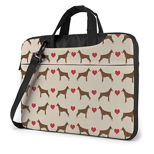 Hdadwy Doberman Love Red Novelty Printed Laptop Shoulder Bag,Laptop case Handbag Business Messenger Bag Briefcase 14 inch