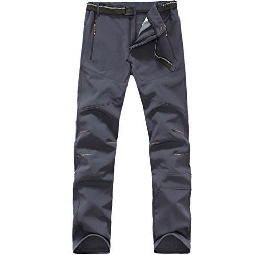 FLYGAGA da Uomo Impermeabile Antivento in Pile Softshell Pantaloni Sport all' Aria Aperta Campeggio Escursioni Arrampicata Trekking Pantaloni Grau